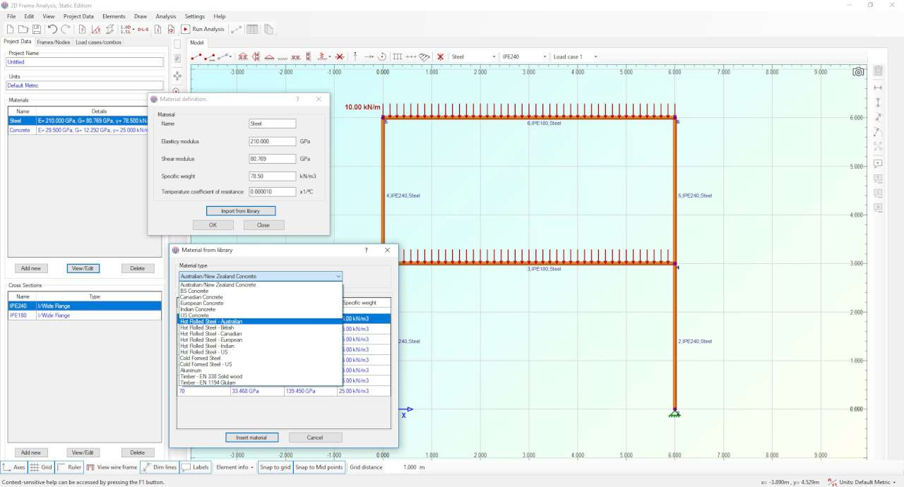 Software tool for structural analysis of frames, beams and