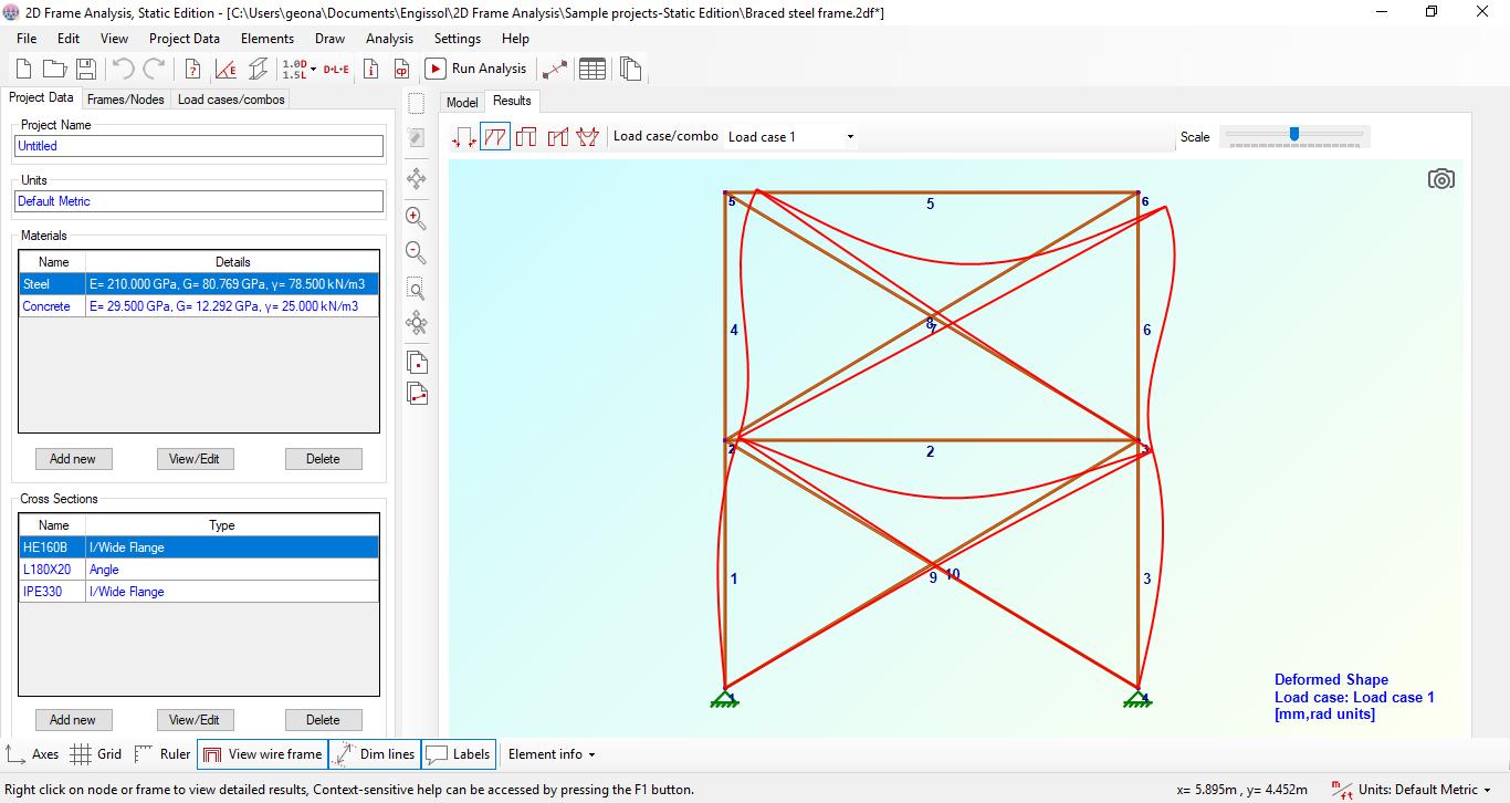 2D Frame Analysis Static Edition full screenshot
