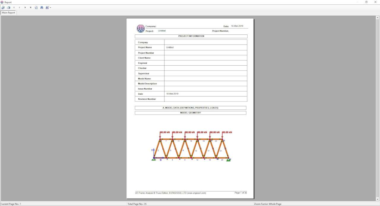 Calculation report, exportable to PDF, Word, Excel