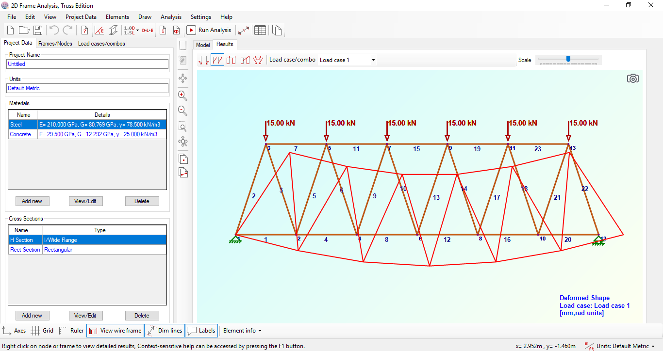 2D Frame Analysis Truss Edition full screenshot