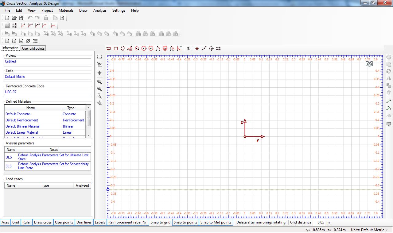 Cross Section Analysis & Design main screen