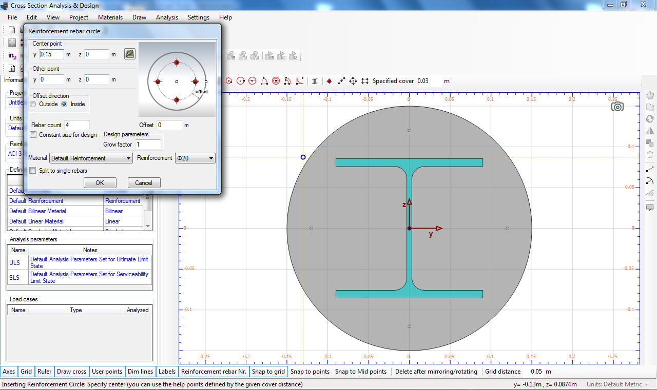 Inserting a circular rebar pattern