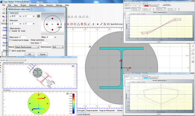 Software for moment curvature analysis of reinforced concrete column, Interaction diagram and Reinforcement design