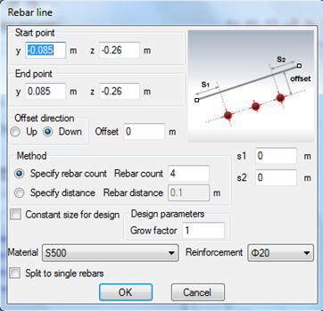 Setting properties of reinforcement bar line