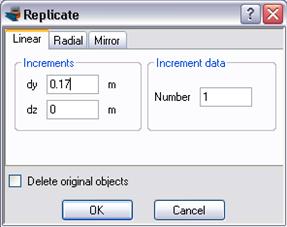 Replicate a rebar line at a horizontal distance of 17 cm