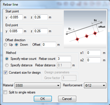 Setting constant size of reinforcement bars