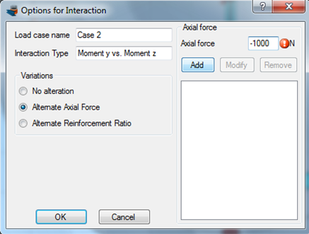 Setting different axial force levels for the interaction diagrams