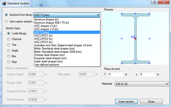 Selecting the AISC database to import a standard steel section