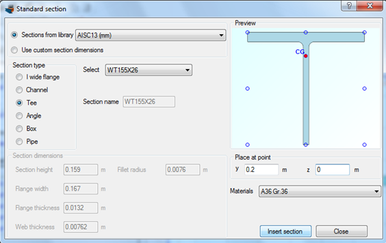 Importing a WT155X26 tee section from the AISC database