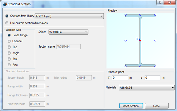 A wide flange section W360X64 from the AISC database is imported