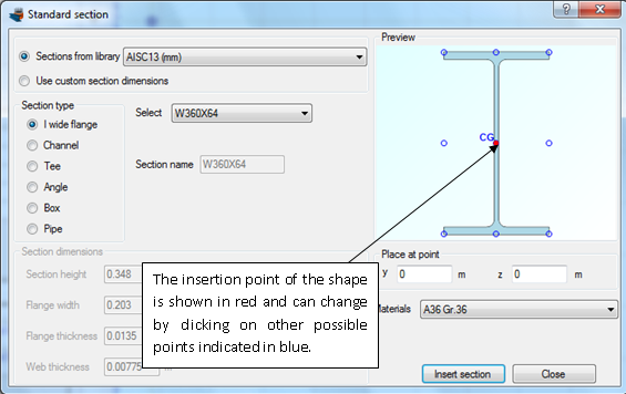 Specifying the insertion point of the steel section