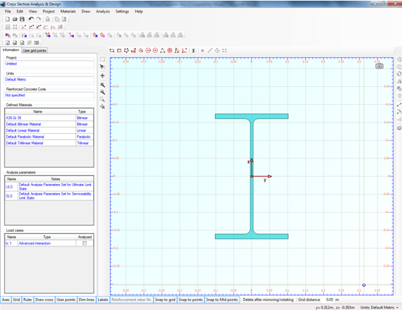 Imported steel section on drawing area