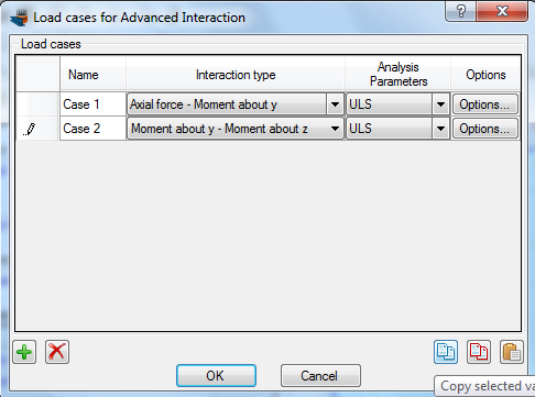 Load cases for advanced interaction analysis have been defined