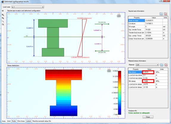 Strain distribution, stress contour and maximum/minimum developed stresses for load case 1