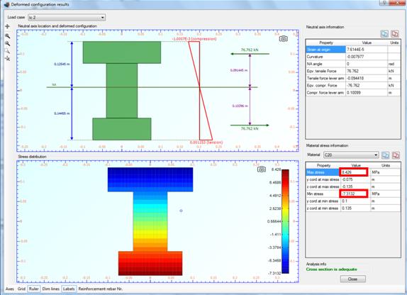 Strain distribution, stress contour and maximum/minimum developed stresses for load case 2