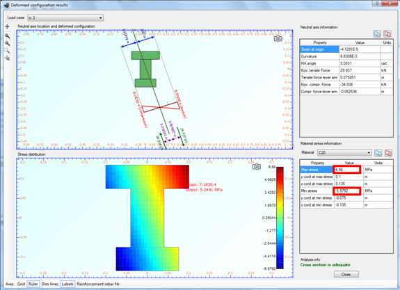 Strain distribution, stress contour and maximum/minimum developed stresses for load case 3