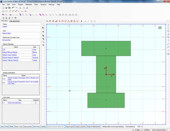The rectangle that corresponds to the bottom flange of the timber section is displayed in the drawing area