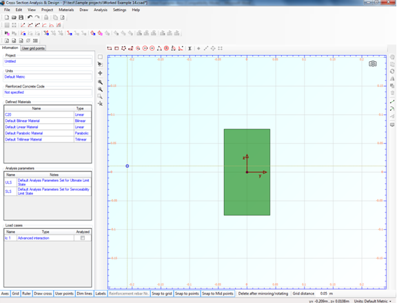 The rectangle that corresponds to the web of the timber section is displayed in the drawing area