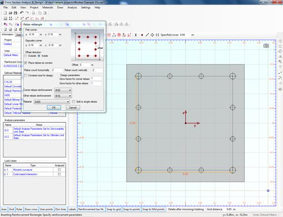 Rebar rectangle on drawing area