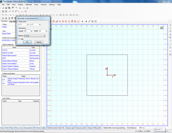 Drawing the rectangular concrete part of the cross section