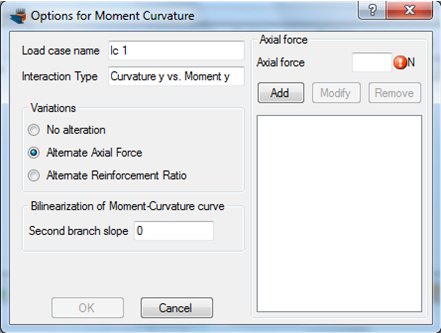 Specifying options for the Moment Curvature analysis
