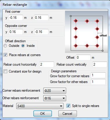 Properties of rebar rectangle