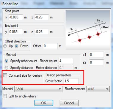 Rebar size for bottom reinforcement