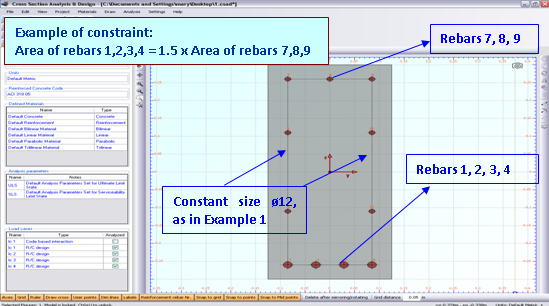 Example of rebar size constaints