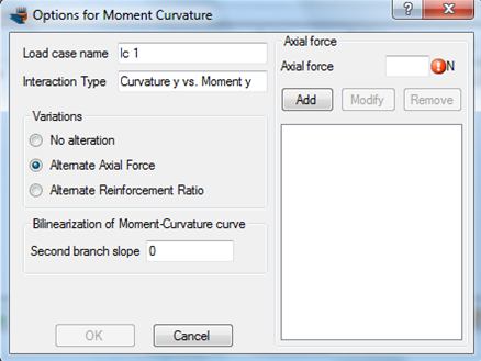 Definition of specific axial force levels for the moment curvature curves