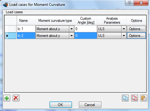 Creating a new load case for Moment vs. Curvature analysis