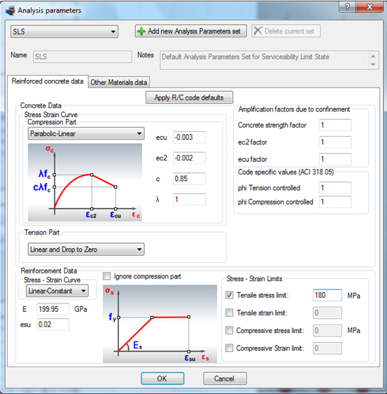 Applying a tensile stress limit for reinforcement for SLS analysis parameters set