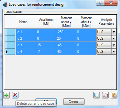 Delete existing load cases