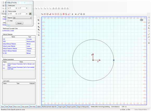 Drawing concrete circular section part