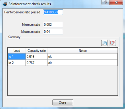 Reinforcement check results (capacity ratio, required reinforcement ratio, etc.)