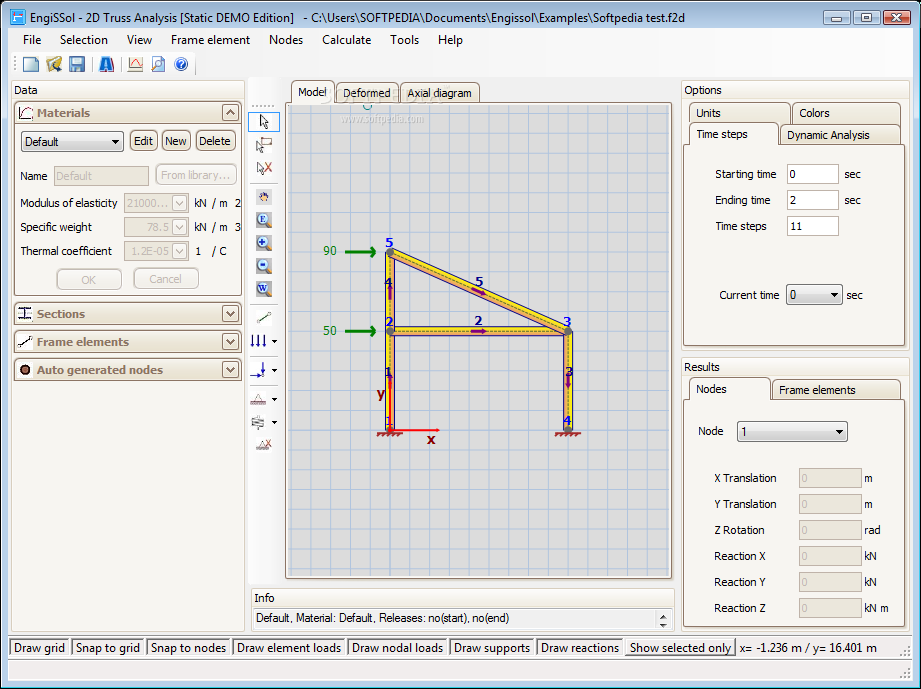 2D Frame Analysis software | Engissol Ltd.- Structural Engineering ...
